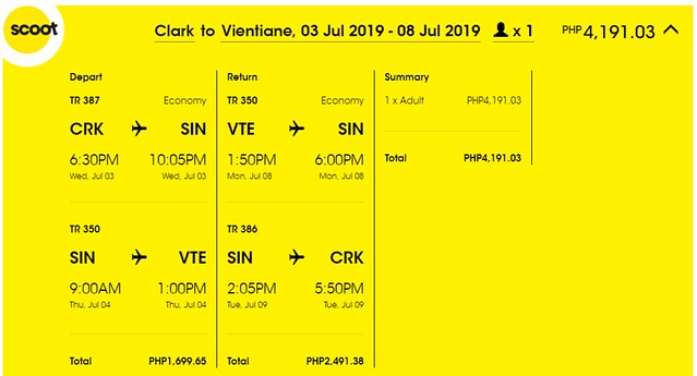 Scoot Airlines Clark to Vientiane Roundtrip Promo