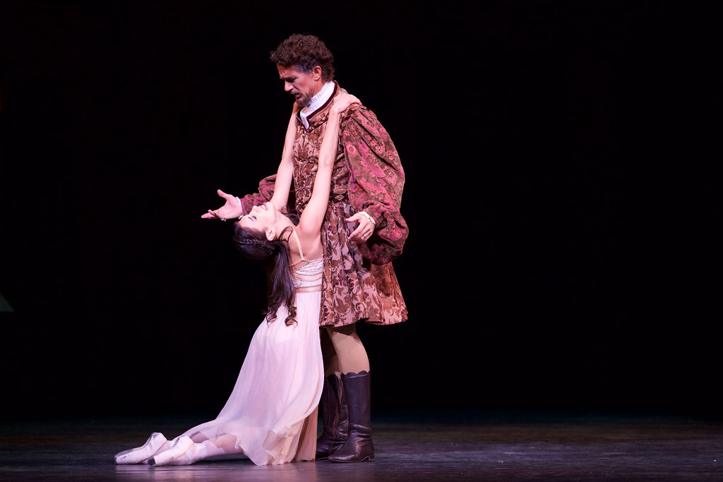 Yasmine Naghdi as Juliet and Gary Avis as Lord Capulet in Romeo and Juliet, The Royal Ballet © 2015 ROH. Photograph by Alice Pennefather