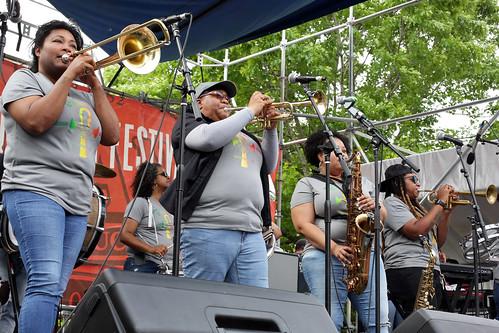 Original Pinettes Brass Band at French Quarter Fest - 4.12.19. Photo by Bill Sasser.