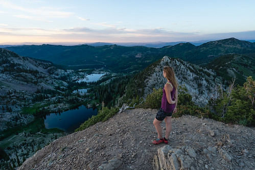 lake adventure hiking hike lakes mountain alpine landscape outdoors outside health lifestyle peak canyon valley wide ultrawide zeiss 1635 overlook view vista summer outbound utah slc women female model nature explore