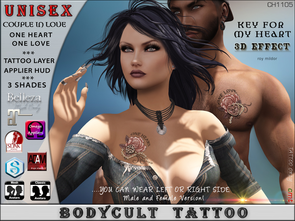 BodyCult Tattoo UNISEX Couple in Love Key Heart CH1105