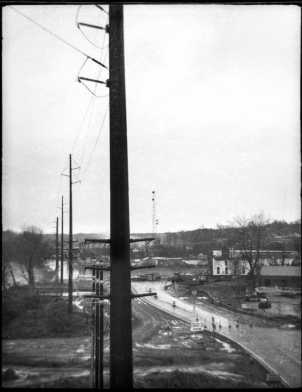 power lines, industrial district, flooded, French Broad River, Ashevile, North Carolina, Ferrania Tanit,Rera Pan 400, Ilford Ilfosol 3 developer, 12.28.18