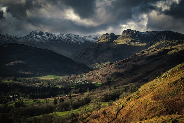 View towards the Langdale Pikes from Loughrigg Fell