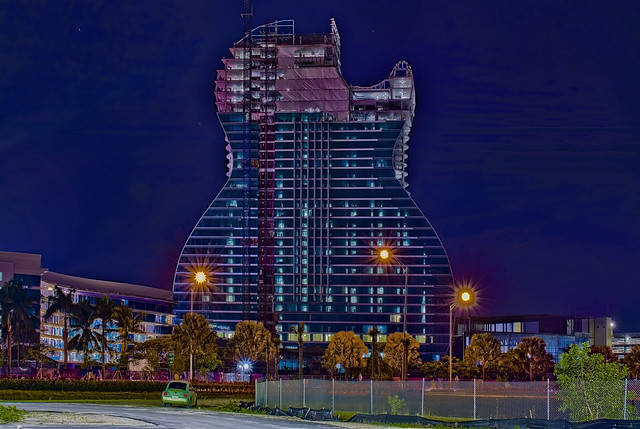 Guitar shaped Hotel Tower, Seminole Hard Rock Hotel & Casino, 1 Seminole Way, Hollywood, Florida, USA / Built: 2019 / Height: 450 feet / Architect: Klai Juba Wald Architects