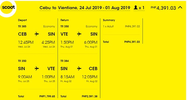 Scoot Airlines Cebu to Vientiane Roundtrip Promo