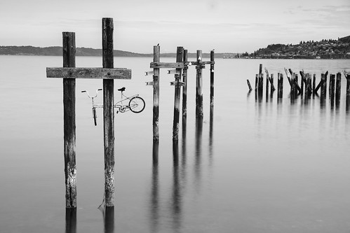 bike bicycle piling pier puget sound commencement bay tacoma washington wa pacific northwest seascape landscape black whte blackandwhte monochrome long exposure fuji xt2 18135