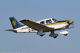 G-RECW - 1980 build Piper PA-28-181 Cherokee Archer II, climbing on departure from Barton