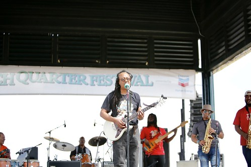 Juju Child & the Hypnotic Roots Band on Day 2 of French Quarter Fest - 4.12.19. Photo by Michele Goldfarb.