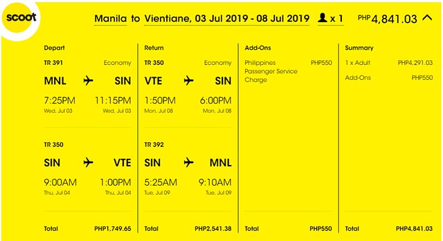 Scoot Airlines Manila to Vientiane Roundtrip Promo