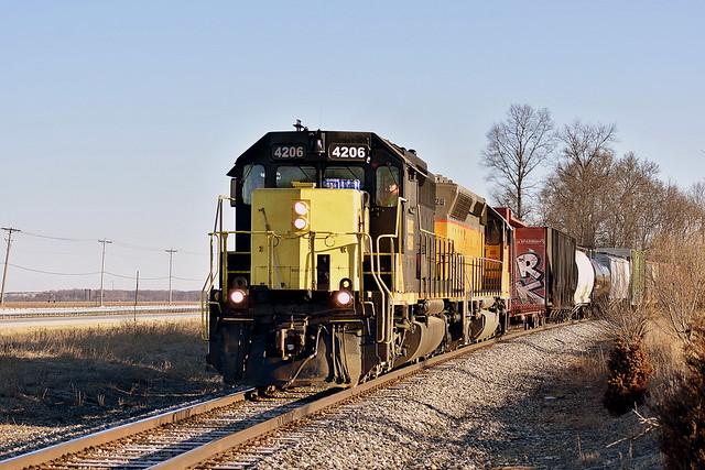 Southbound Grand Elk train near Schoolcraft Michigan