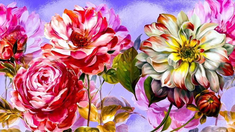 Обои Grafika, Kwiaty, Kolorowe картинки на рабочий стол, раздел цветы - скачать