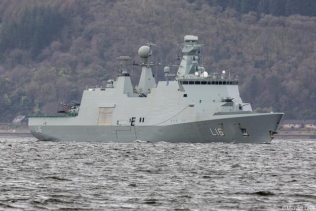Royal Danish Navy (Søværnet) Absalon-class support ship Absalon, L16; Firth of Clyde, Scotland