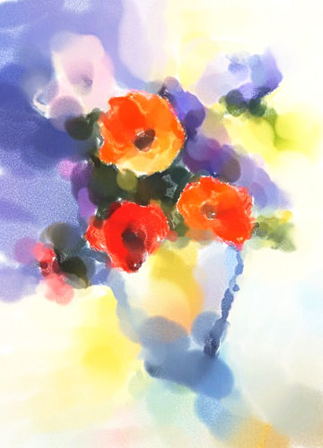 Flowers in Vase - Watercolors Abstract