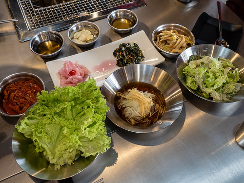 Apple Samgyupsal's Unlimited banchan (side dishes) and vegetables | by huislaw