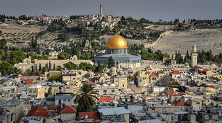 Temple Mount and Dome of the Rock viewed from Bell Tower of Church of the Redeemer in Old City of Jerusalem Israel | by mbell1975