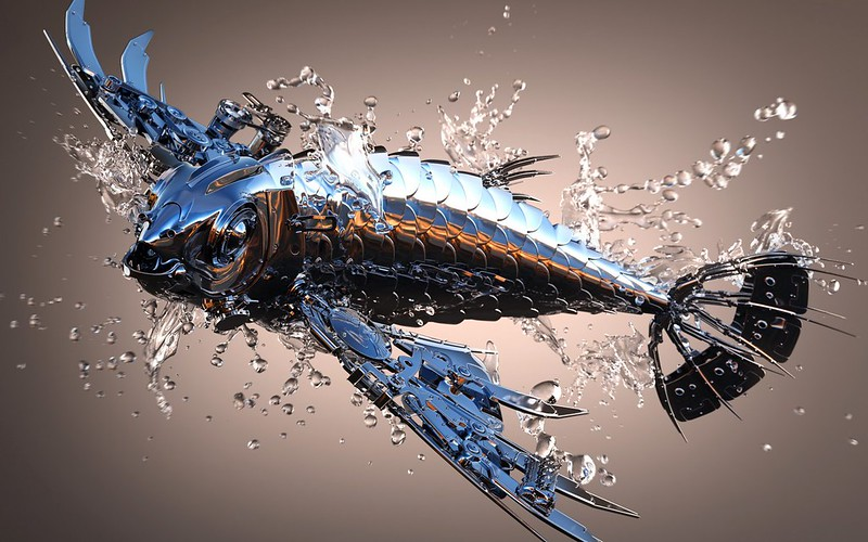 Обои рыба, блеск, металл, вода картинки на рабочий стол, фото скачать бесплатно