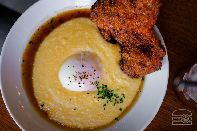Fried Chicken Thigh - Cheddar Grits, Poached Egg, Red Eye Jus - Station