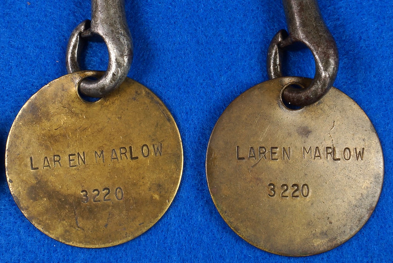 RD27754 Vintage Brass Military Tag on Snap Hook DSC00050