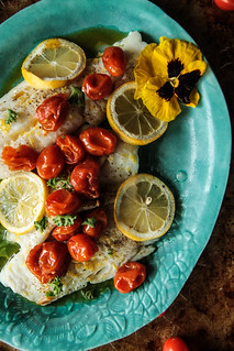 Roasted White Fish with Spicy Tomato Garlic Confit from HeatherChristo.com | by Heather Christo