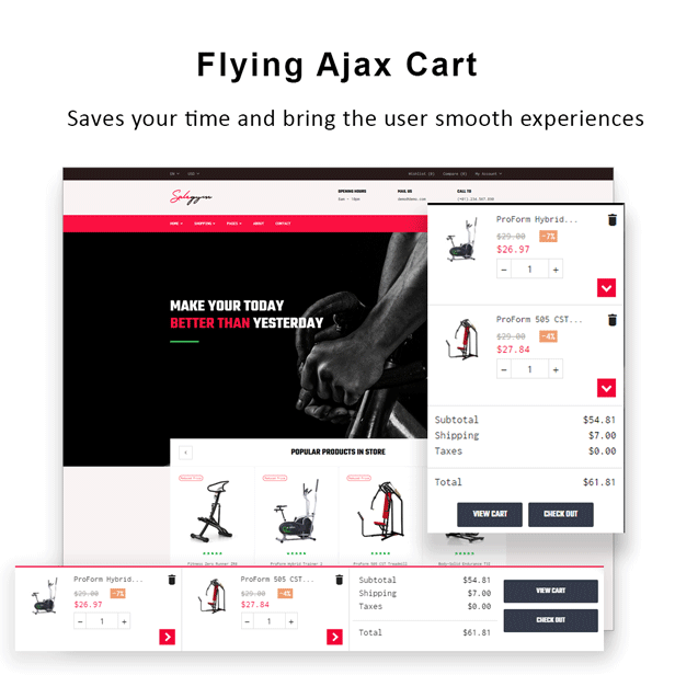 Bos Gymgear Creative PrestaShop Sport Theme - Flying Ajax Cart