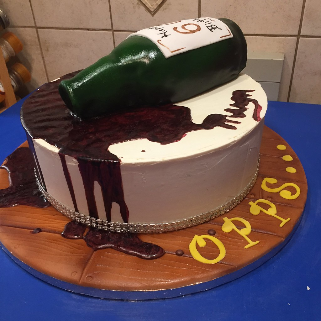 Admirable Opps Spilled Red Wine Bottle Cake Happy 60Th Birthday Flickr Funny Birthday Cards Online Elaedamsfinfo