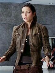 Jessica Biel Total Recall Melina Brown Leather Jacket