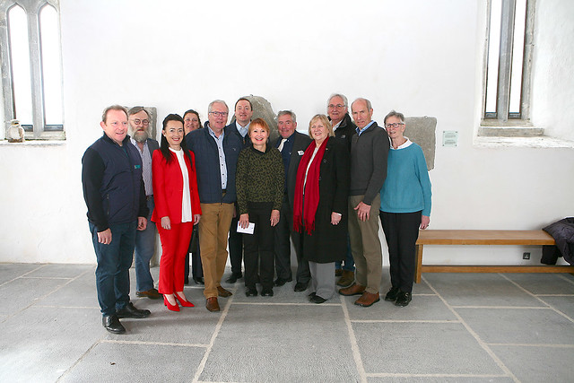 Historians, descendents of John Kerin, and the Revd Jim Stephens at Ardfert Cathedral.
