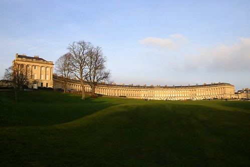 royalcrescent bath architecture building curve semicircle somerset westcountry sunset shadows grass sky georgian