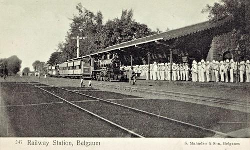 india train railway belgaum steam locomotive station raj