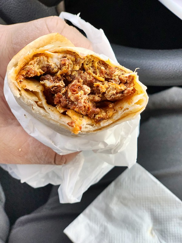Egg and chorizo burrito
