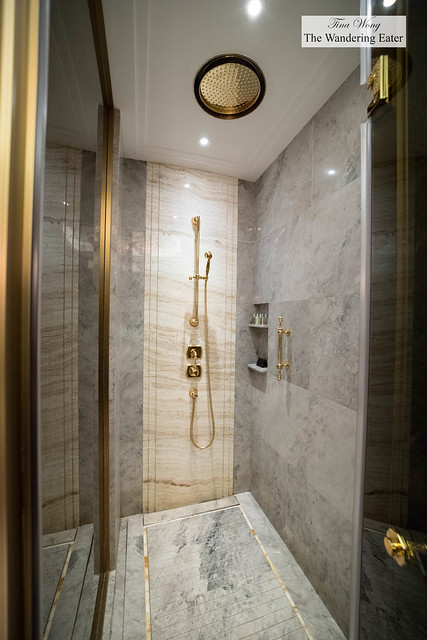A deep, all-marble shower