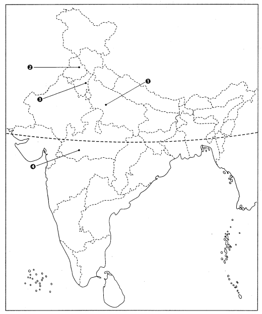 Class 10 Geography Map Work Chapter 4 Agriculture Q1