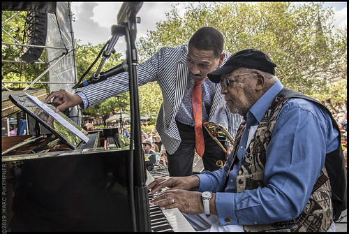 Delfeayo and Ellis Marsalis on Day 1 of French Quarter Fest - 4.11.19. Photo by Marc PoKempner.