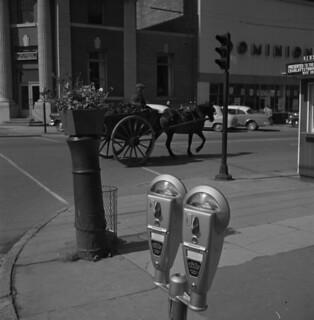A horse-drawn carriage passes a double-headed parking meter, Charlottetown, Prince Edward Island / Charrette tirée par un cheval passant près d'un double parcomètre, Charlottetown (Île-du-Prince-Édouard)