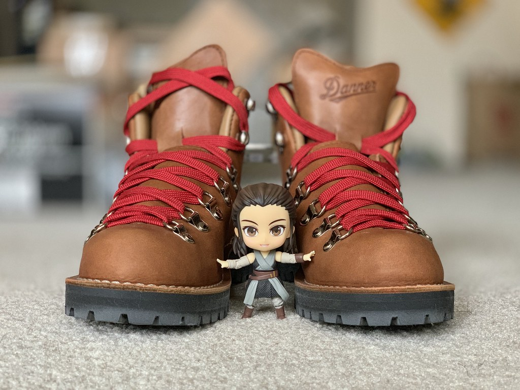 Rey and a Pair of Danner Hiking Boots