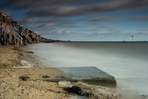 essex southend thorpebay beachhuts beach longexposure hightide seaweed