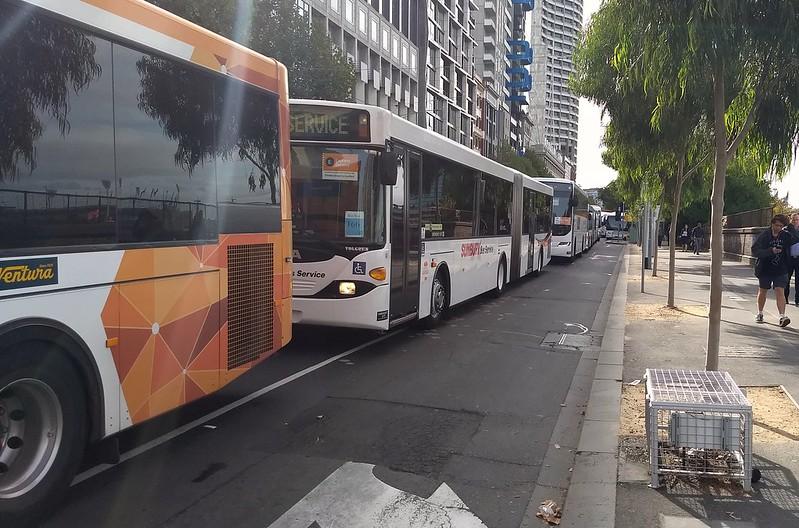 Bus queue in Flinders Street, 8/4/2019