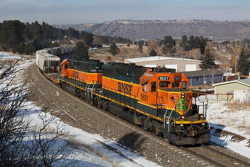 bnsf bnsf1601 bnsf6720 emd sd402 larkspur colorado jointline pikespeaklocal train railroad