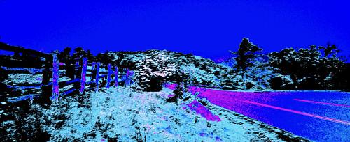 blue road fence fx landscape surreal tree manipulation vivid magenta visualart vibrant hill