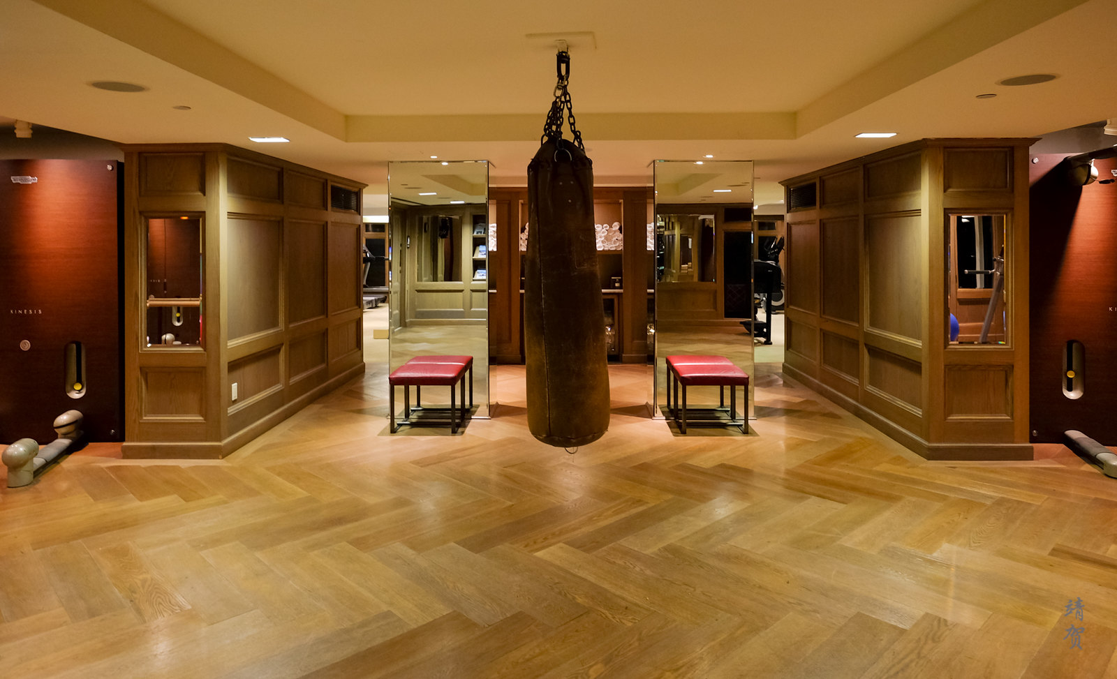 Boxing bag in the foyer