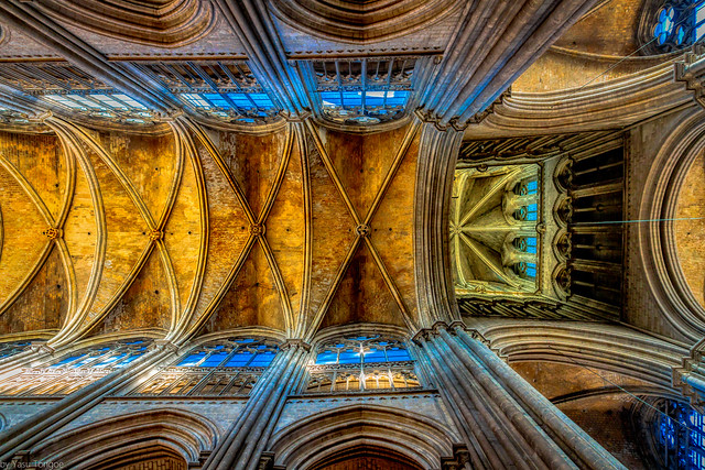 Interior of the Cathédrale Notre-Dame de Rouen: Stained Glass Windows and Complex Ceiling, Rouen, France-36a