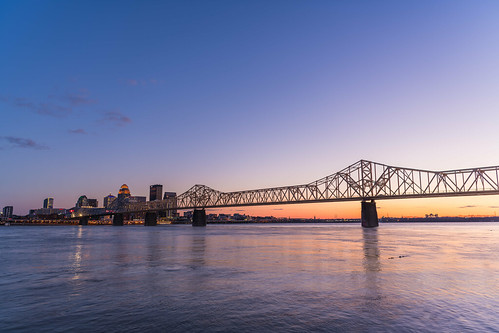 kentucky louisville secondstreetbridge cityscape downtown sunset