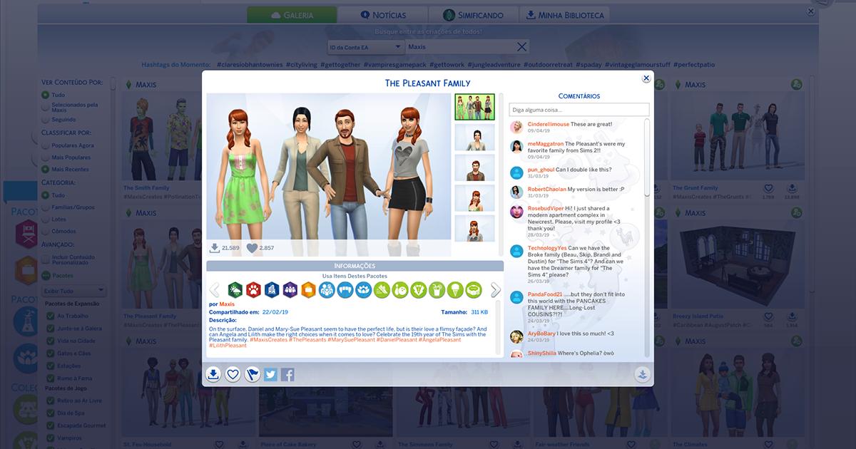 Foto de The Sims 4: Família Dos Prazeres Disponível na Galeria