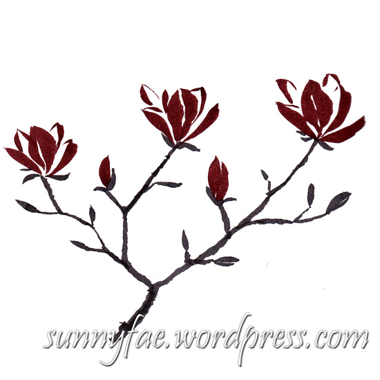Chinese brush painted magnolia