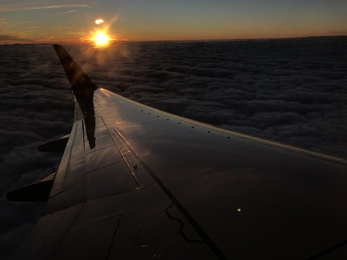 air view sunset dramatic plane light wing