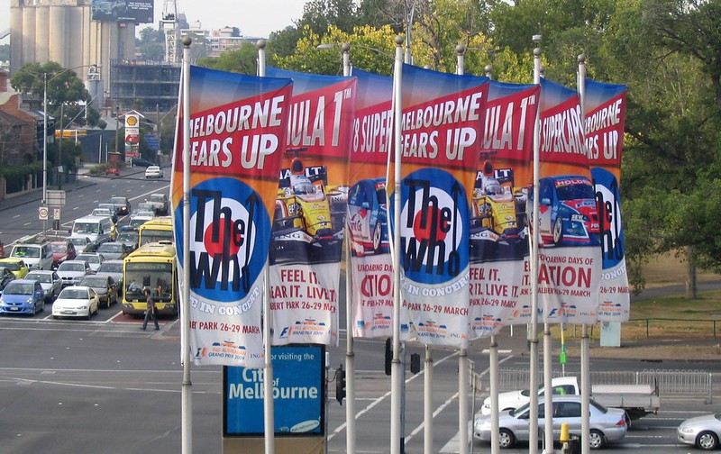 Grand Prix / The Who banners at Swan St/Punt Rd, 27/2/2009