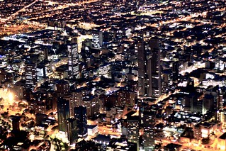 Bogotá in the night, Downtown