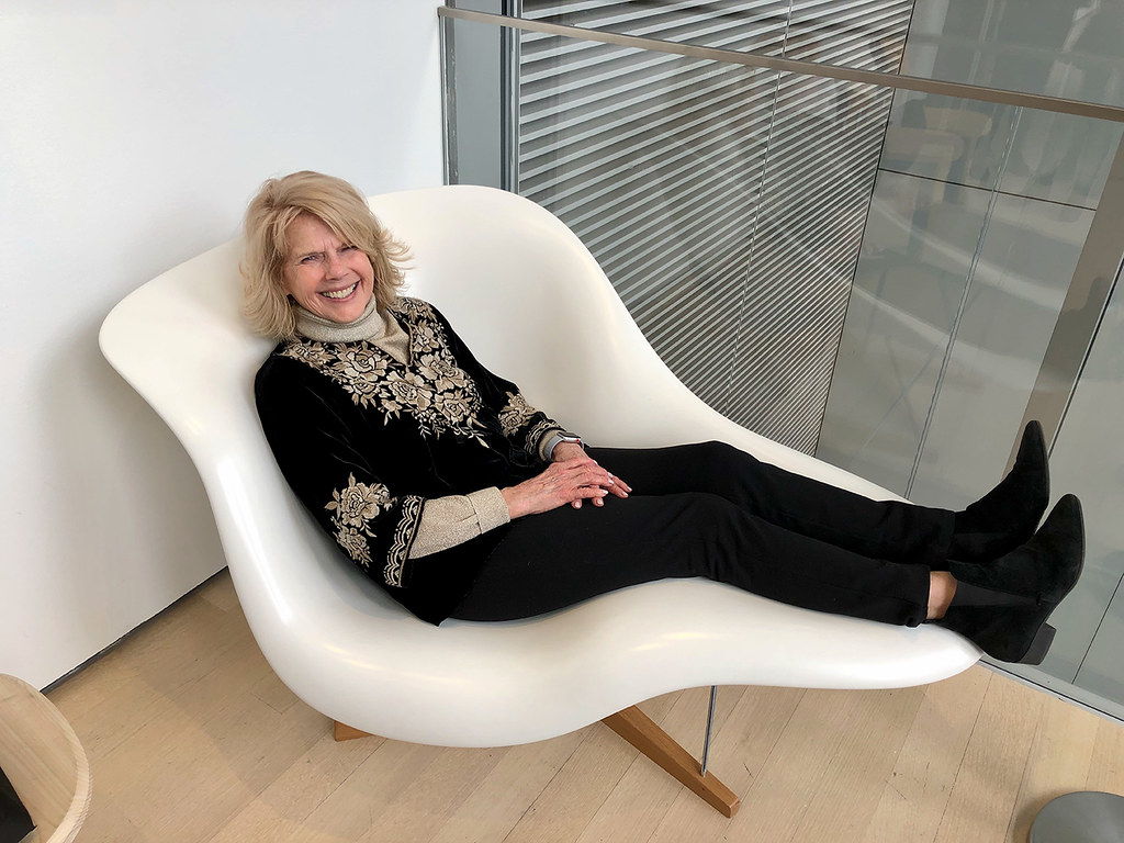 Ruthie enjoying a chaise longue designed by Charles and Ray Eames. At MoMa, NYC. February 22nd.