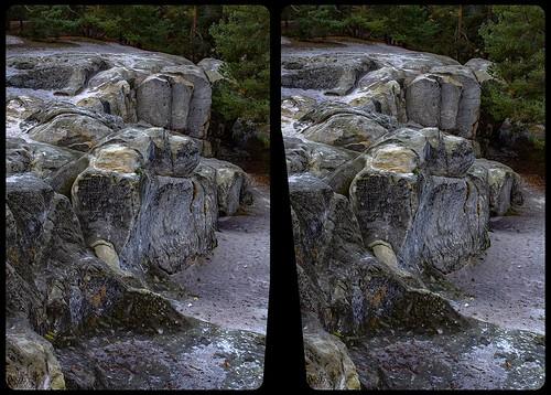 Sandhöhlen am Heers 3-D / Kreuzblick / Stereoskopie