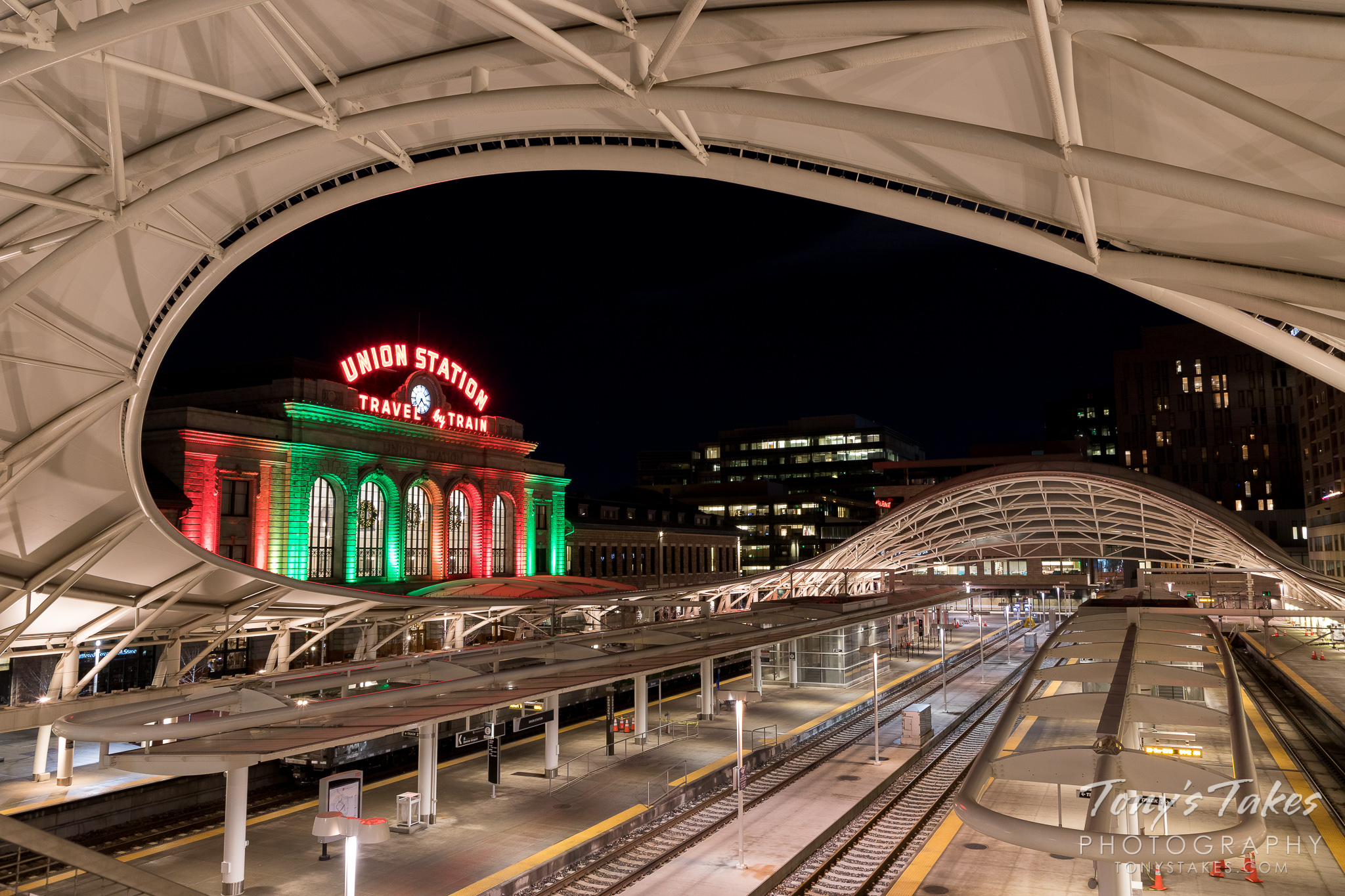 Denver's Union Station at night